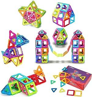 FlyCreatマグネット おもちゃ 男の子 女の子 磁石 おもちゃ 子供プレゼント 知育玩具 立体 パズル 磁気ブロック64個 外しにくい 磁石 積み木 カラフル 磁性構築玩具 幾何学認知 想像力と創造力を育てる知育 おもちゃ 贈り物 誕生日...