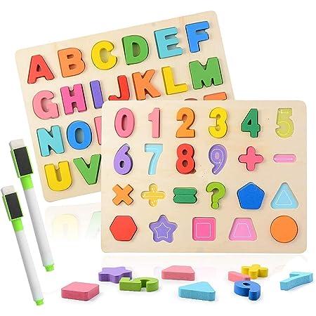 Colmanda Puzzle en Bois, 2 Pièces Alphabet en Bois et Numéro d'apprentissage Jouet éducatif Puzzle Alphabet en Bois pour L'apprentissage Ludique des Nombres (1)