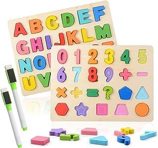 Colmanda Puzzle en Bois, 2 Pièces Alphabet en Bois et Numéro d'apprentissage Jouet éducatif Puzzle Alphabet en Bois pour L...