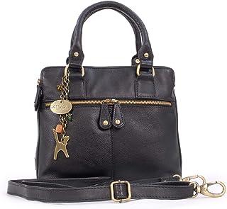 Catwalk Collection Handbags - Vera Pelle - Borsa a Tracolla/Borse a Mano/Spalla/Messenger/Tote/Tracolla Regolabile e Rimov...