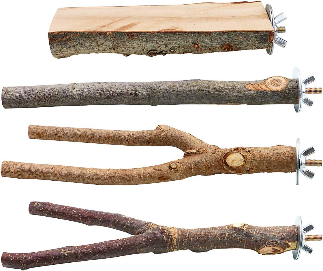 BILLIOTEAM half 4 Pack Natural Time sale Wood Parrot Branches Bird Stand Perch