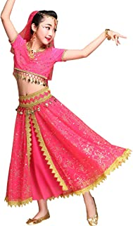 ae9ae7f3a3a Belly Dance Costume Bollywood Dress - Chiffon Indian Dance Outfit Halloween  Costumes with Head Veil for