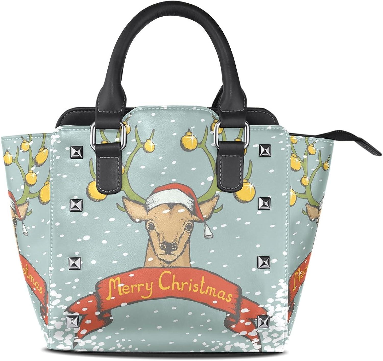 Sunlome Christmas Deer with Santa Hat Print Handbags Women's PU Leather Top-Handle Shoulder Bags