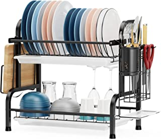 Dish Drying Rack, GSlife 2 Tier 304 Stainless Steel Dish Rack with Utensil Holder, Cutting Board Holder and Dish Drainer f...