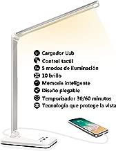 Lámpara Escritorio LED, Flexo de Escritorio (Cuidado Ocular, Puerto USB, 5 Modos,10 Niveles de Brillo,Temporizador de 30/60min, Función de Memoria)