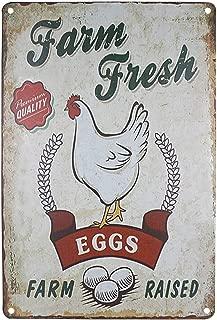 SKYC Farm Fresh Eggs White Chicken Sign Retro Vintage Tin Sign Farmhouse Home Wall Decor Signs Metal Bar Country Home Decor 8X12Inch