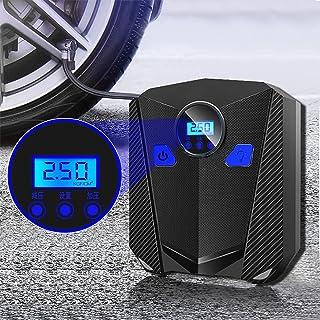 ضاغط هواء للسيارة، مضخة رقمية محمولة، مقياس رقمي، منفاخ إطارات للسيارة، دراجة نارية، كرات رياضية، سيارات اس يو في (اسود)