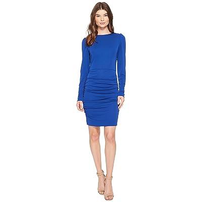 Nicole Miller Stretchy Matte Jersey Long Sleeve Dress (Blue) Women