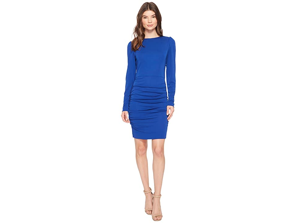 Nicole Miller Stretchy Matte Jersey Long Sleeve Dress (Blue) Women