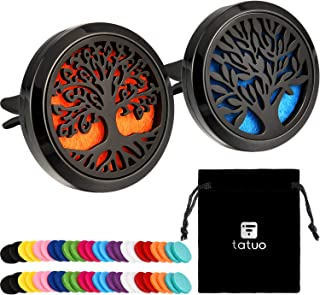 Tatuo 2 Pieces 316L Stainless Steel Car Aromatherapy Essential Oil Diffuser Air Freshener Vent Clip Locket with 48 Pieces Replacement Felt Pad (Tree Patterns-Black)
