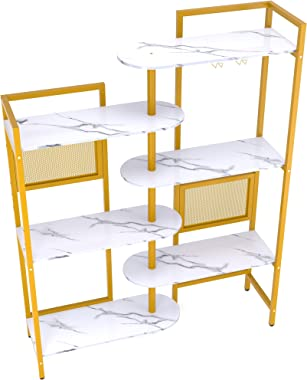 Gezen 6-Tier Ajustable Bookshelf Modern Wood Bookcase for Home Office, Open Standing Shelf with Metal Frame, Wood and Metal B