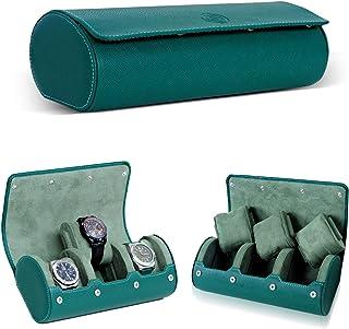 Genuine Leather Travel Watch case luxury Hulk Green Travel Watch Roll for men & women for 3 watches - watch organizer-Watc...