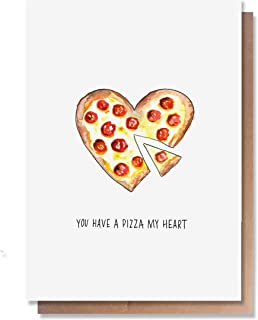 Wunderkid Funny Valentine's Day Card, You Have a Pizza My Heart Love Pun (Individual, Blank inside)