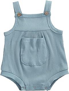 الرضع قطن صلب مضلع رومبير قمة طفل الفتيات شرائط بلا أكمام أزرار الكتف حللا (Color : Blue, Kid Size : 12M)