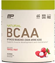 MusclePharm Natural BCAA Powder, Post-Workout Recovery Drink, Tropical Fruit, 30 Servings