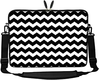 Meffort Inc 15 15.6 inch Neoprene Laptop Sleeve Bag Carrying Case with Hidden Handle and Adjustable Shoulder Strap - Black Chevron Pattern