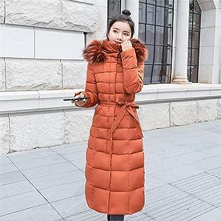 Womens Casual Fashion Winter Warm Hooded Coat Long Cotton Padded Jackets Pocket Coats Orange XXXL