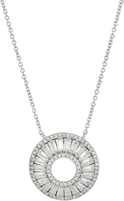 Circle Baguette CZ Pendant Necklace