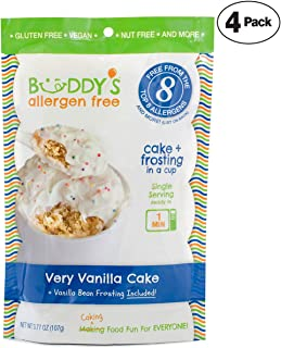 Buddy's Allergen Free: (VERY VANILLA) Gluten Free Cakes - Frosting Included - Vegan Dessert - Nut Free Cakes - Top 8 Allergen Free Food - Nut Free Desserts - Mug Cakes - Gourmet Snack 4 PACK (16oz)