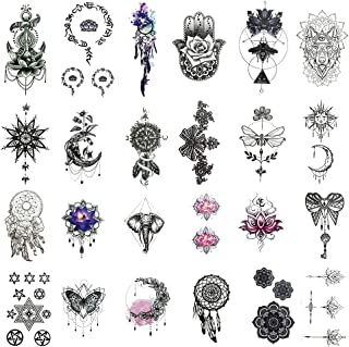 Everjoy India Mehndi Temporary Tattoos - 24 Pcs, Mandala, Henna, Sanskrit, Lotus, Tribal, Religious Body Art Stickers for Adults, Women, Men, Kids, Boys and Girls