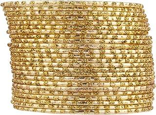 Lux Accessories Gold Tone Glitter Indian Wedding Multi Bangle Set 24 PC