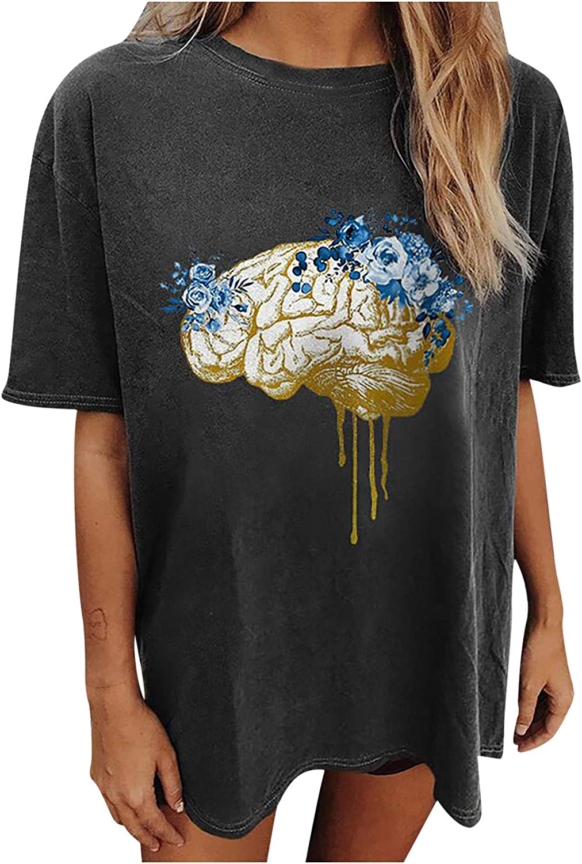 Gwewei4df Womens Funny Shirts Organ Ranking TOP12 Vintage Los Angeles Mall Printed Sleeve Drop