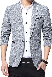 Men's Slim Fit Casual Blazer Jacket One Button Business Suit Jackets Suits Coat