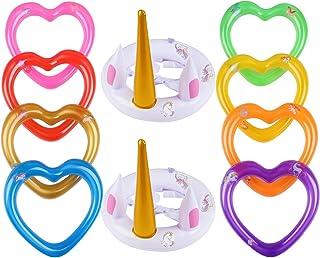 Toss Game Juguete Sombrero Inflable de Unicornio Juguetes inflables de unicornio con Anillos para Niños Adultos y Familias para Fiesta Jardín Piscina Navidad Halloween Cumpleaños(Unicornio)