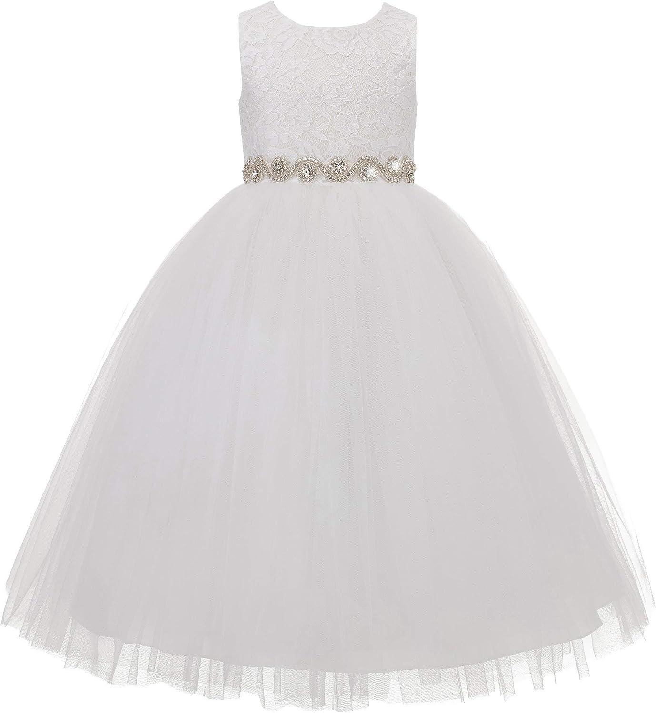 ekidsbridal Floral Lace Heart Cutout Flower Girl Dress Junior Pageant Gown 172R