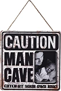 BESTWD Vintage Metal Tin Plaques Photo Picture Frame Signs Decorative Caution Man Cave Printing Art for Pub,Bar,Tavern,Cafe, Home Wall Decor