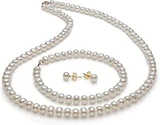 14K Gold Freshwater Pearl Necklace Bracelet Stud Earring Set,18