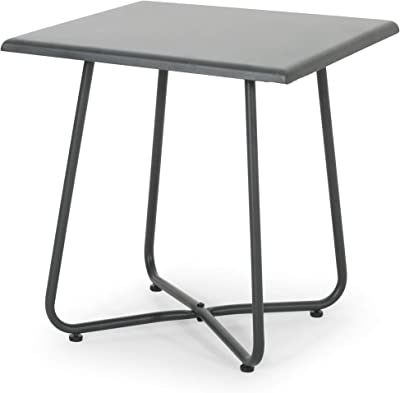 """Christopher Knight Home Doris Outdoor Modern 18"""" Side Table with Steel Legs-Gray"""
