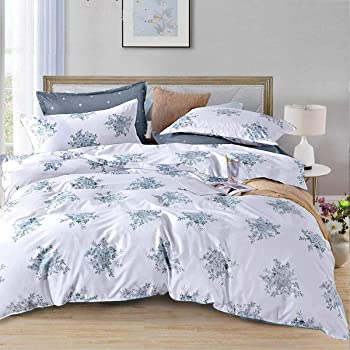 Duvet Cover Set Queen Size - 3 Pieces Floral Shabby Chic Vintage Flower Microfiber Soft Lightweight Down Duvet Comforter Quilt Bedding Covers with Zip Ties - 90x90 inch for Women Men, White Blue