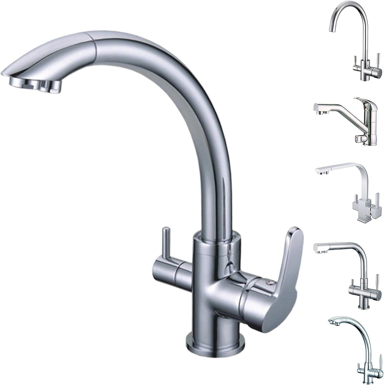 SMARDY DUO304 3 Wege Wasserhahn Küchenarmatur 360° schwenkbar, Mischbatterie für Osmoseanlagen inkl. 3 8  Adapter