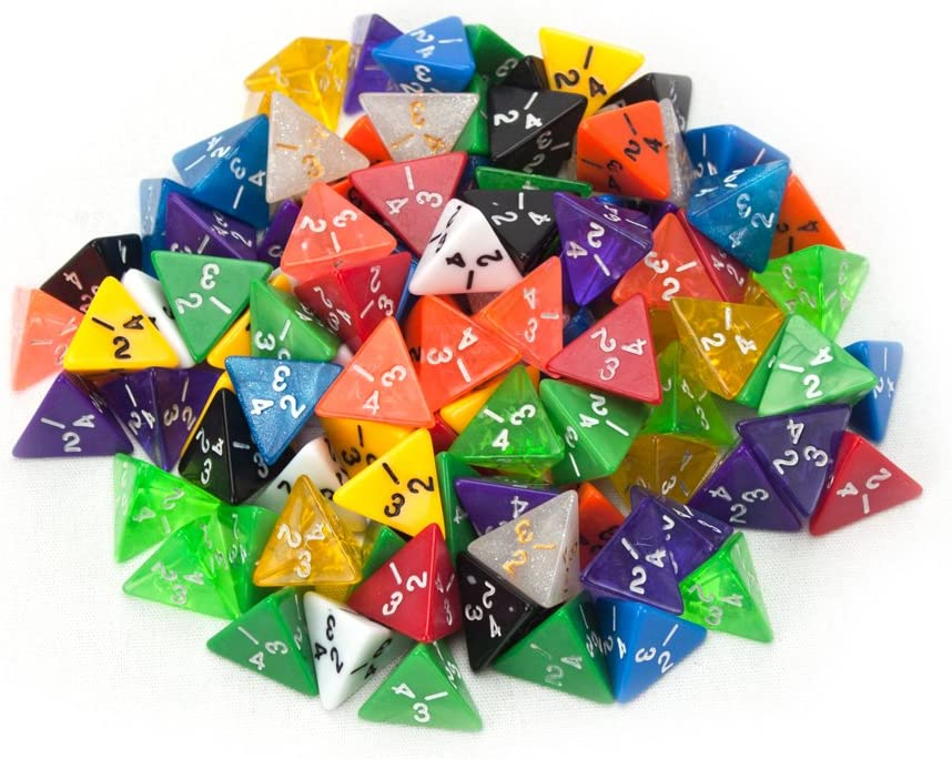 Wiz Dice 100+ Pack of Random D4 Polyhedral Dice in Multiple Colors