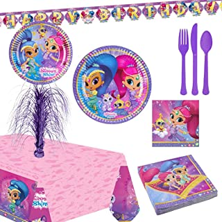 Shimmer and Shine Party Supplies for 16 People, Includes Plates, Cups, a Banner, Table Cover, Centerpiece, Cutlery, and Ti...