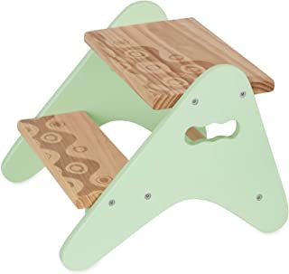 B. spaces by Battat - Peek-A-Boost – Wooden Two-Step Stool – Mint & Wood