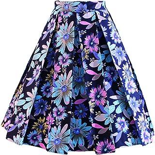 DresseverBrand Women's Rockabilly Skirt, A-Line Retro Skirt, Midi Swing Skirt