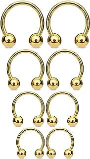 BodyJ4You 8PC Horseshoe Barbells Ball Closure Ring 14G Nose Lip Ear Nipple Multicolor Steel Jewelry