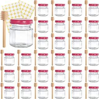Tebery 30 Pack 1.5oz Mini Hexagon Glass Jars with Wood Dipper, Small Honey Pot Jars Canning Jars with Pink Lids and Label...