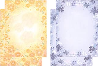 IMagicoo 48 Pcs Writing Stationery Paper Cute Floral Design Writing Letter Set Paper, Printer Friendly, 2 Different Style