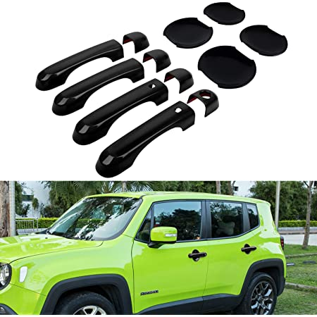 For Jeep Renegade Red Door Handle Cover w// Smart Keyhole /& Cup Bowl Cover Trim