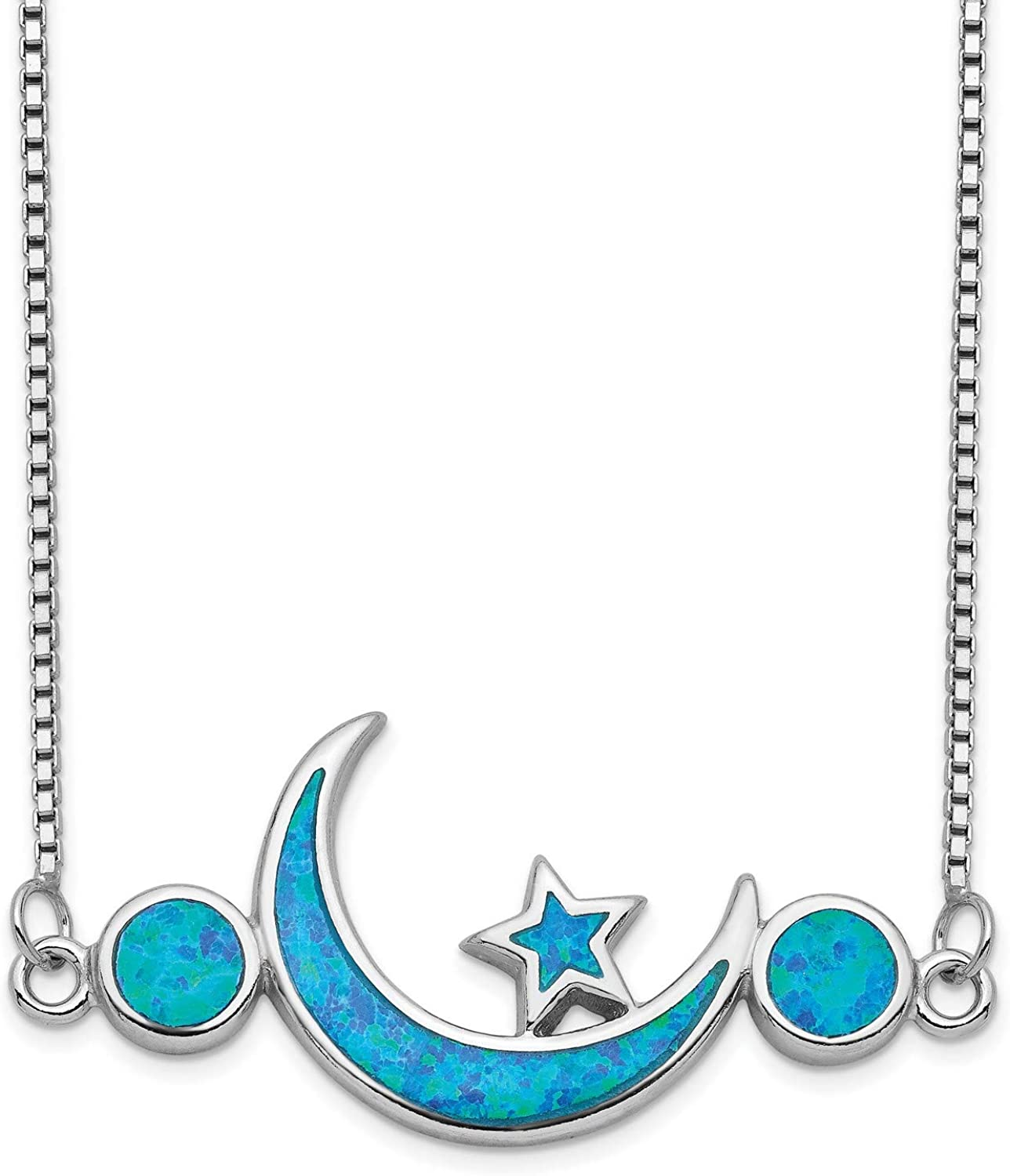 Imitation Opal Half Moon And Stars 925 Necklace Pendant Max 90% OFF Bargain With In