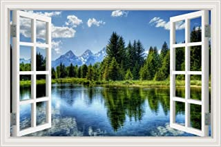 GreatHomeArt Removable Prints Poster 3D Window View Wall Decals, Nature Lake Scenery Vinyl Sticker Peel & Stick Wall Decor...
