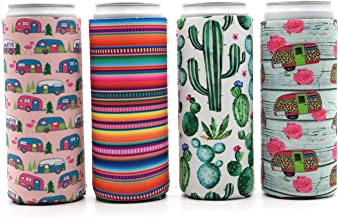 Party Girl Kim Slim Can Cooler - Neoprene Insulated Can Coolie for 12oz Tall Skinny Cans like Red Bull, White Claw, Slim Beer and Spiked Seltzer Water - Fun for Camping, Beach, Outdoor - 4 pack