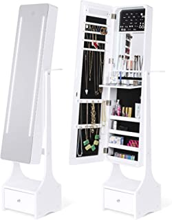 Best Choice Products Full Length Standing LED Mirrored Jewelry Makeup Storage Cabinet Armoire w/Interior & Exterior Lights, Touchscreen, Shelf, Velvet Lining, 4 Compartments, Drawer, White