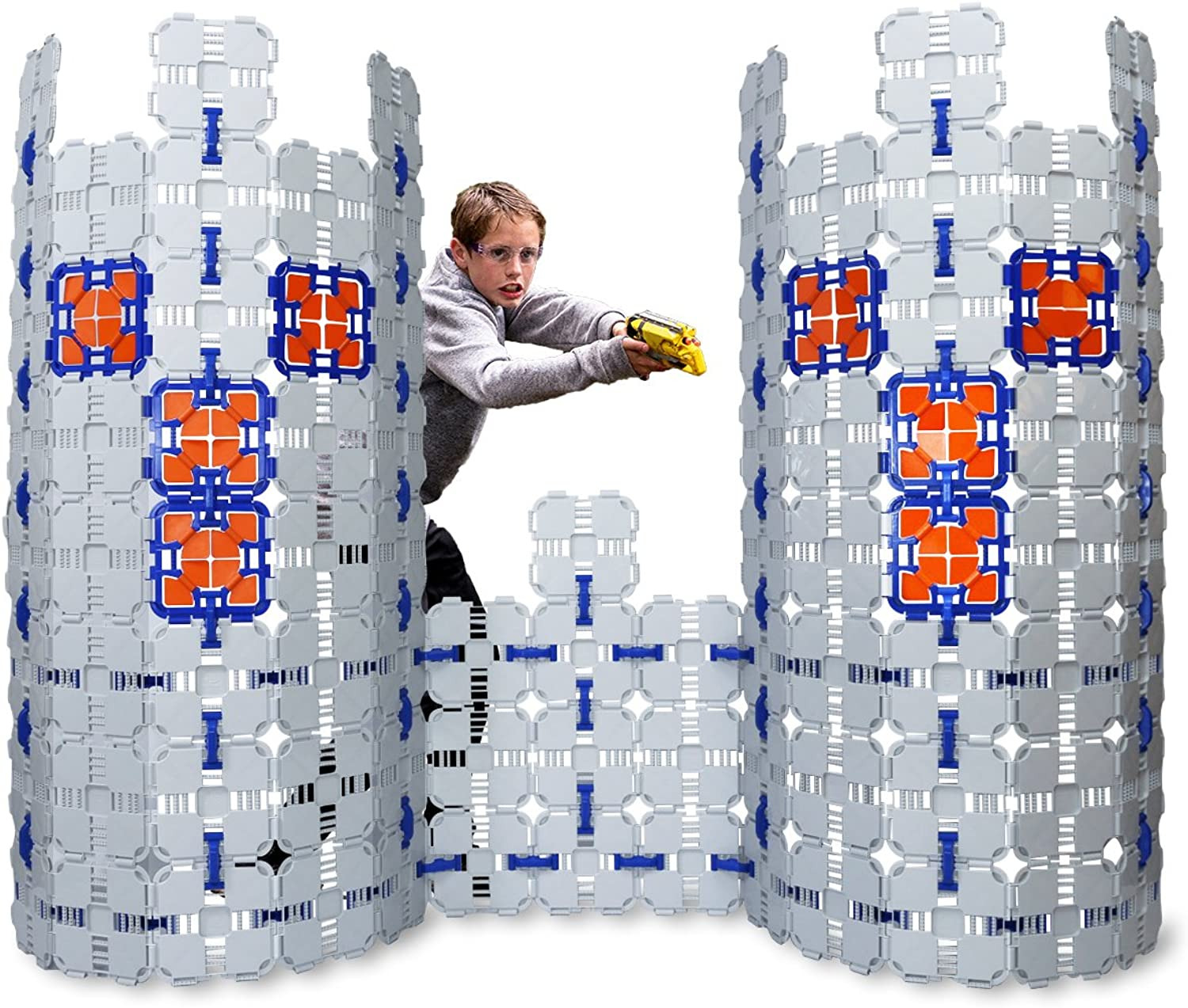 Blaster Boards  4 Pack   Kids Fort Building Kit for Nerf Wars & Creative Play   184 Piece Set