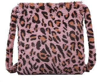 HAIWILL Schultertaschen Damen Leopard Umhängetasche Flauschige Plüsch Kleine Crossbody Retro Mode Tasche für Mädchen