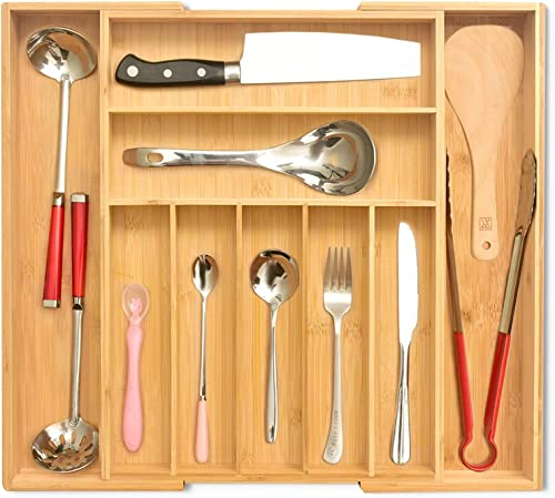 wholesale Signature Living New Drawer Organizer (7-9 slots) Bamboo high quality Expandable Utensil Drawer Organizer Premium Bamboo for Cutlery, Flatware, Silverware - Drawer Dividers for Easy wholesale Storage online