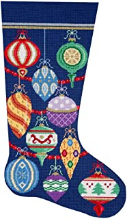Alice Peterson Home Creations Holiday Edition Needlepoint Stocking Kit-- Elegant Ornaments- Large, Deluxe Size